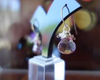 Silver pink mystic quartz and sapphire earrings