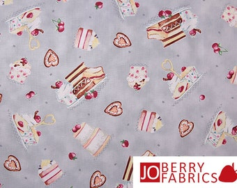 Food Pastries Fabric, Afternoon Delight by Helz Cuppleditch and licensed to Suzanne Cruise for Quilting Treasures, Quilt or Craft Fabric