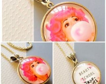 30mm Large Double Sided Frenchy Grease Movie Pink Lady Beauty School Drop Out Pendant Necklace
