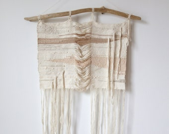 Winter Birch // Handwoven Silk Wall Hanging On Driftwood // Naturally Dyed