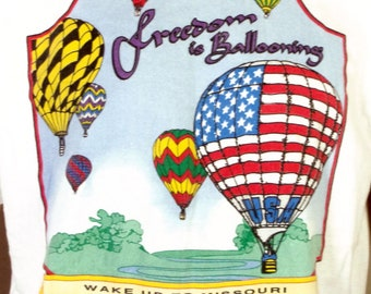 vtg 90s Freedom Is Ballooning T-Shirt 1995 Hot Air Balloon Race Columbia MO XL
