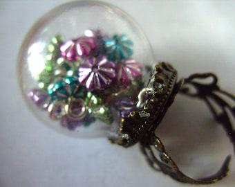 Festive,Glass Dome, globe, RING, Baubles, Festive, miniature, xmas, by NewellsJewels on etsy