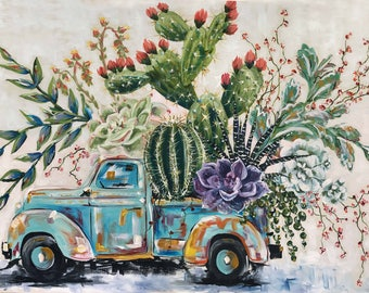 Succulent Truck #2 Print on Canvas