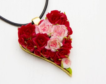 Valentines Day Gift for her Heart Necklace Legend of Zelda Heart Necklace Red Heart pendant Floral Pendant Gift for women Roses polymer clay