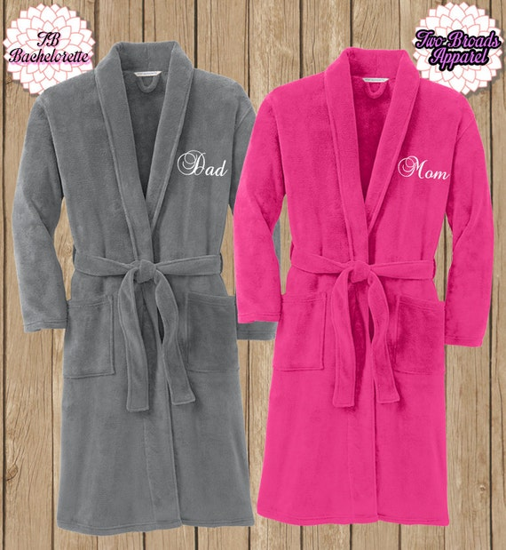 Spa Robe, Plush Fleece Robe, Monogram Microfleece Shawl Collar Robe, Monogram Robe, Fleece Robe, Mom and Dad Robe, Adult Robe