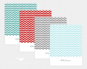 Personalized Chevron Notecards - Set of 4
