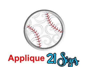 Baseball Applique Embroidery Design, Baseball Applique, Baseball Machine Embroidery Design,  Baseball Machine Embroidery Design, 21 Sizes