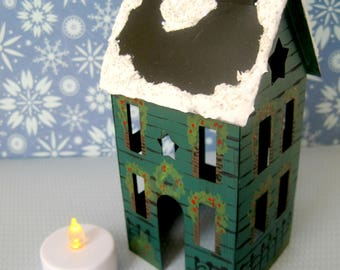 Tea Light Candle Holder Tin House with Electric Candle