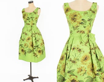 50s Party Dress | Lime Green Floral Silk Taffeta Party Dress | Watercolor Border Print Dress | Extra Small