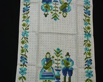 Vintage Tea Towel, Linen Parisian Prints, Unused Bright and Cheerful