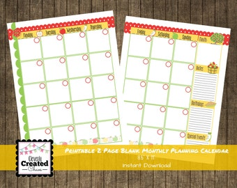 Printable 2 Page Monthly Planner