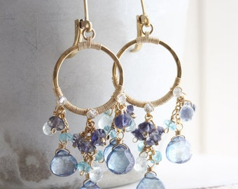 Wire wrapped chandelier earrings, Blue gemstone earrings, Gold hoop earrings with blue quartz, iolite, aquamarine & apatite, 14k gold filled