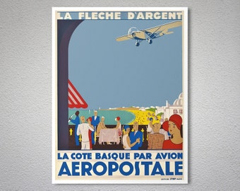 La Cote Basque Par Avion Aeropostale Vintage Poster   Poster Print, Sticker  Or Canvas Print
