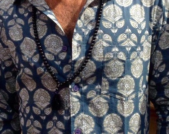 SALE-Man handmade Long sleeves Fitted  shirt in pure Cotton Blue block print design