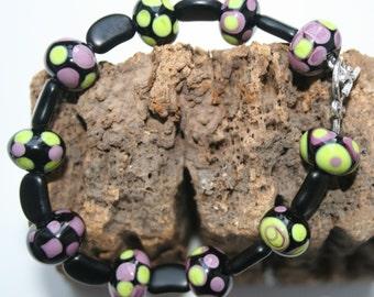 Black, purple and lime green Bracelet