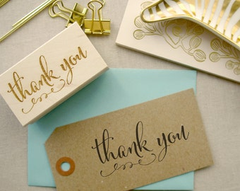 Calligraphy Thank You Stamp | Custom Gift Tags and Cards