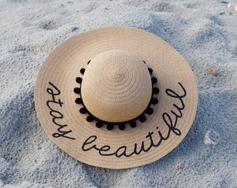 Personalized custom sun floppy straw beach hat pom hand-painted Mrs. wedding honeymoon bachelorette derby party