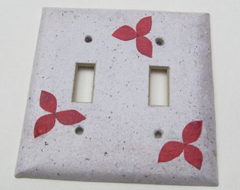 Junk mail handmade paper with custom color flowers- Recycled Double Light Switch Plates-Recycled Handmade Paper