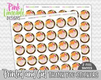 "Autumn Pumpkin ""Thank You"" Stickers - 2 sheets 1 or 1.5 inch stickers - printed stickers for your business or event - GLOSSY - ty037"