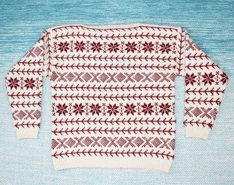 Vintage Norvyk Ren Dale White Red Sweater Large Boat Neck Nordic Fair Isle Sweater Women