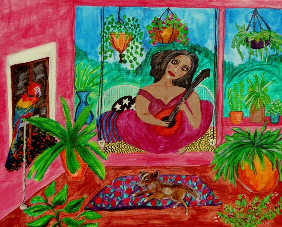 """The Pink Stucco Porch, pigmented India Ink on 20x16"""" (framed) canvas, Naive Outsider Art African American Folk Art, Stacey Torres Artist"""