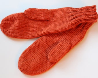 Pumpkin Mittens for Adults - Traditional Mittens - Old Fashioned Mittens - Orange Adult Mittens - Knit Mittens - Knit Burnt Orange Mittens