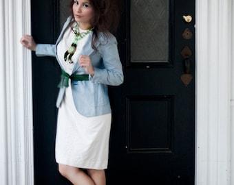 Vintage White Cotton Dress - Short Sleeve, Knee Length, Small Medium