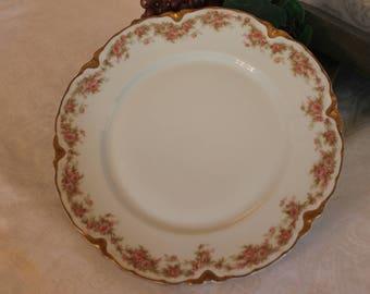 """Antique Haviland & Co. Limoges 9.75"""" Dinner Plate - Vining Pink Roses Pattern"""
