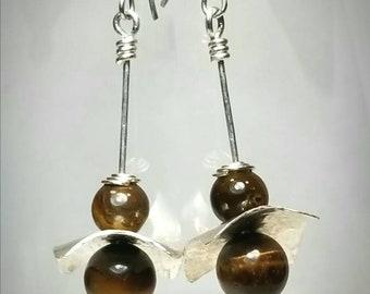 Artsy sterling earrings with tigers eye beads. Metal art earrings FREE SHIPPING