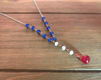Patriotic Lariat ~ Ruby Red Quartz, Moonstone, & Jade ~ Sterling Silver ~ Minimalist Necklace ~ American Flag ~ Gift for Her ~ Y Necklace