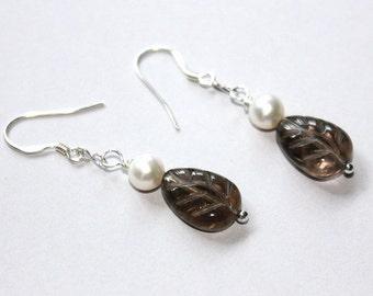 Smokey Quartz Leaf Earrings - Freshwater Pearl Earrings - Silver Earrings - June Birthstone - Mothers' Day Gift