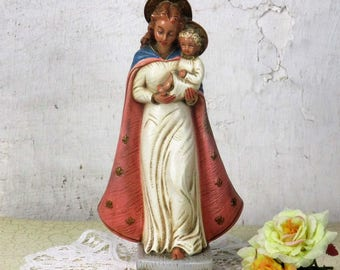 Art Deco French Statue Plaster HTF Virgin Mary Infant Jesus Signed Fiocchi