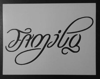 Family / One LoveAmbigram (2 Words - Flip It Upside Down) Custom Stencil FAST FREE SHIPPING