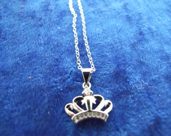 Tiara Crown Charm Pendant Necklace in Sterling Silver with Zircon Gemstones