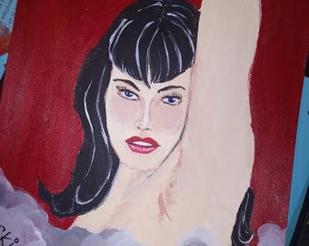 "Bettie Page Original Acrylic Painting ""Red Bettie"" by CKinas"