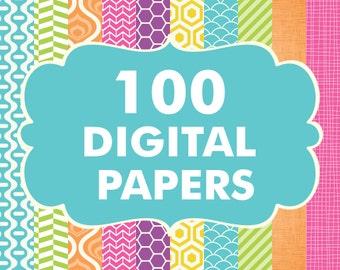 Sale 100 Digital Paper Bundle, Digital Papers, Digital Paper Pack, Fish Scale Papers, Herringbone Papers, Crosshatch Papers