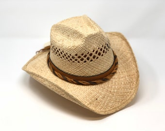 Vented Raffia Hat with leather band