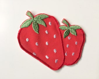 Red strawberry sew on applique patch