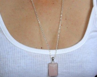 Long silver rose quartz necklace, Rose quartz necklace, Long silver necklace, Rose quartz teardrop necklace