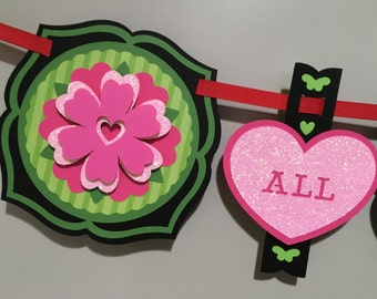 Botanical Heart Banner, Black // All You Need // Valentine Banner // Heart Banner // Love Banner // Flower Banner