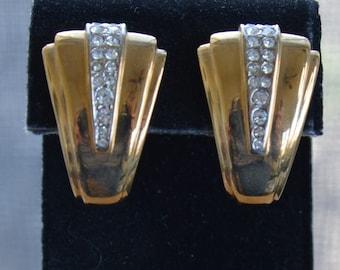 Rhinestone, Gold tone Modern Clip Earrings, Vintage (AG3)
