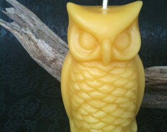 Wise Owl beeswax candle by queen bee honey