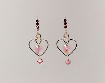 Valentine's Swarovski crystal heart earrings (Light Rose)