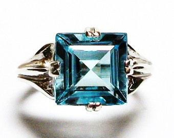 "AAABlue topaz, swiss blue topaz, topaz, princess topaz, engagement ring, blue, s 6 1/2  ""Mirror Image"""