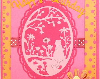 Elegant Cat Birthday Card/Homemade-Handmade Cards/Cottage Cutz Cards/Greeting Cards /Paper Crafts/Birthday Cards/Cat Cards