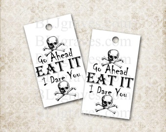 Halloween Tags Goth Skull Eat It I Dare You Gift Tags Party Favor Treat Bag Tags T036