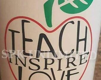 Teach, Love, Inspire Apple Teachers Vinyl Decal