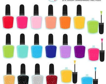 Nail Polish Clipart Set - clip art set of nail polish, manicure, rainbow polishes - personal use, small commercial use, instant download