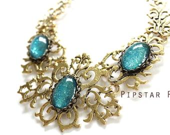 Sea Green Glass Opal Gothic Vines Gold pendant bib necklace (Fantasy Glass,  4 color option) larp princess,cosplay mage,elven wedding