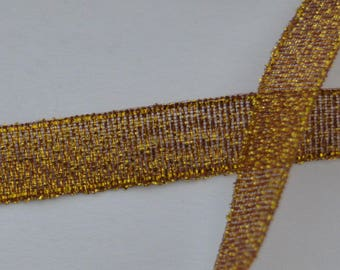 1 m width 10mm silver plated gold organza satin ribbon